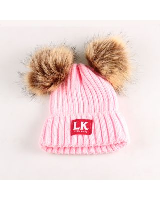 Baby / Toddler Fashionable Solid Pompon Knitted Pink Hat