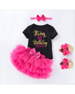 4-piece Birthday Bodysuit Rose-Pink Tutu Skirt Headband and Shoes for Baby Girl