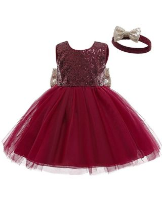 Baby Girl's Sequin Bowknot Maroon Party Dress + headband