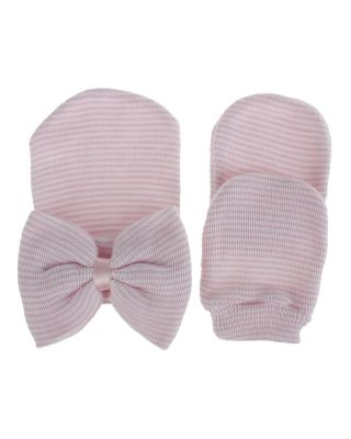 Pack of Baby Striped Hat + Mittens Pair Set (0-6 Months)