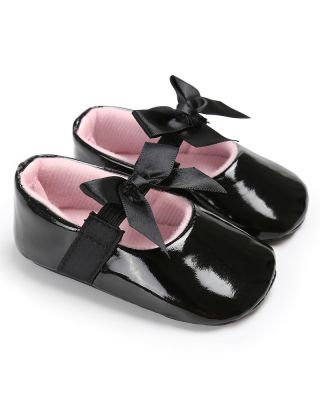 Baby Girl Pretty Bowknot Decor Birthday Party Black Shoes