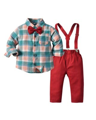Toddler Boy Autumn Winter Long-sleeve Top with Bow tie and Pants Party Suit Set
