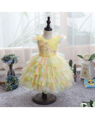 Baby Toddler Girl Princess Party Dress Layered Yellow Dress