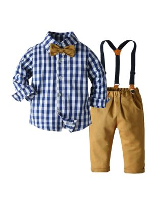 Baby Boy Bow Tie Plaid Shirt & Suspender Pants
