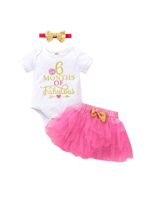 3-Piece  Baby Girl 1/2 Birthday Set for 6 months