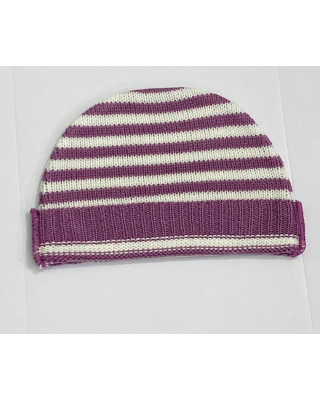 Newborn Baby Imported Knitted Winter Purple/White Hat