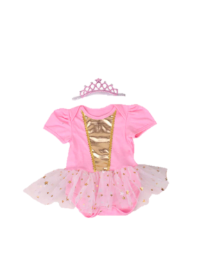 2-piece Baby Girl Romper Dress and Headband Set