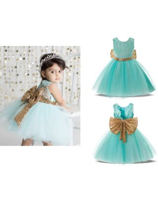 Girl's Pretty Big Sequins Bow Backless Green Party Dress (6 Month to 24 Month)