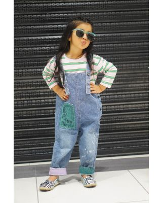 Baby Toddler Girl Solid Top and Trendy Denim Overalls Set