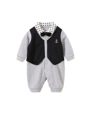 Gentleman Style Bowknot Decor Grey Long-sleeve Jumpsuit