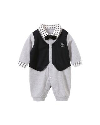Gentleman Style Bowknot Decor Grey Long-sleeve Jumpsuit