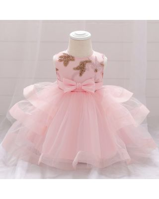Baby Girl Bowknot Embroidered Peach Party Dress
