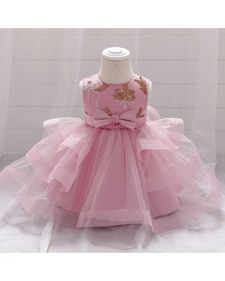 Baby Girl Bowknot Embroidered ROSE PINK Party Dress