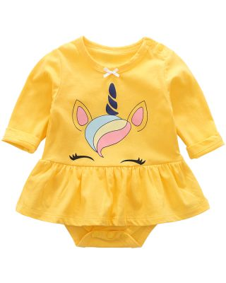 Baby Girl Unicorn Yellow Dress