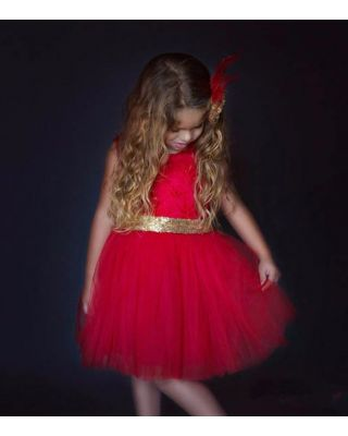 Girl's Pretty Big Sequins Bow Backless Red Party Dress