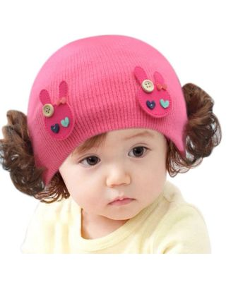 Baby Boy/Girl Winter Knitted Rose-pink Hat for 6M to 5 Year old