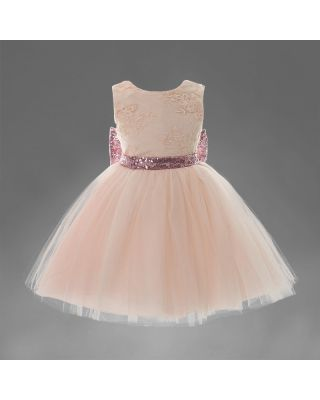 Girl's Pretty Big Sequins Backless Party Dress (WITHOUT BACK BOW)