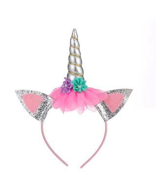 1-Pack Flower Decor Silver Unicorn Hair Hoop for Girls (2Y - 8Y)