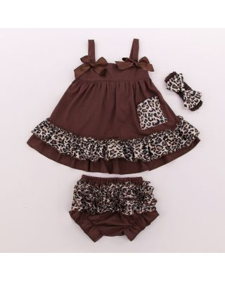 Princess 3 Piece Ruffle Clothing Set in Brown color for 0 to 24 Months