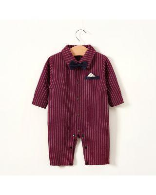 Baby Boy Gentleman Bowknot Decor Stripe Long-sleeve Summer Romper  Jumpsuit
