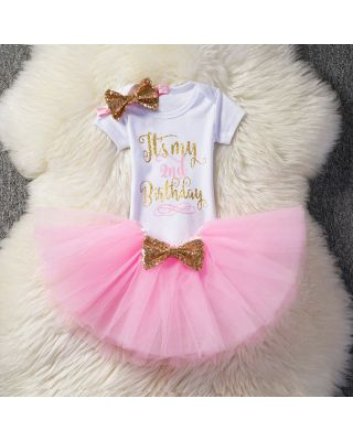 3-Piece Second Birthday Bodysuit Pink Skirt Bow Headband Set