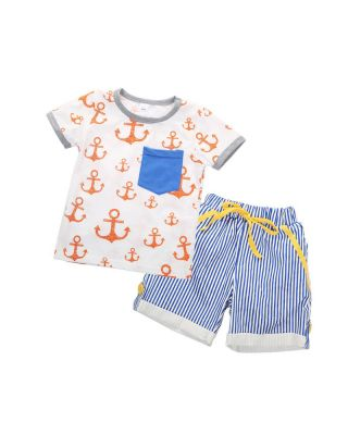 Anchor Print Short-sleeve T-shirt and Shorts Set