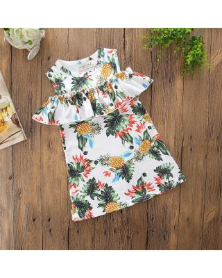 Toddler Girl Off-shoulder Pineapple Printed Dress