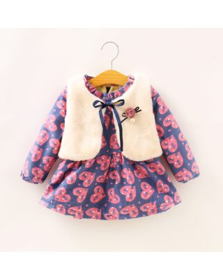 2-Pcs Heart Printed Fleece Lining Dress and Faux Fur Vest Set
