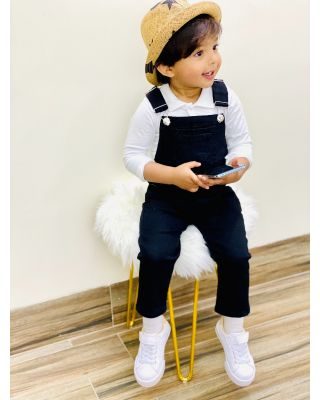 LK Boy/Girl Fashionable Black Denim Dungaree Overall (1-6 Year)