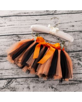 Pretty Orange and Black Tulle Skirt Bowknot Decor for 1 to 2 Year Old