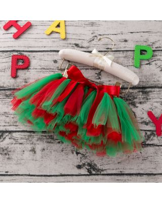 Baby Girl's Red & Green Tulle Skirt for 1 to 2 Year Old