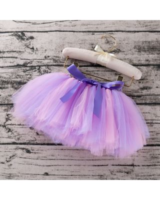 Pretty Bowknot Decor Tulle Skirt in Light Pinkish Purple for 1 to 2 Year old