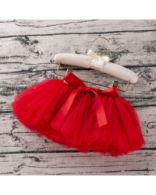 Baby Girl's Solid Tulle Skirt in Red For 1 year to 2 year