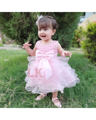 Pink Bowknot Sleeveless Beadings Layered Fluffy Party Dress for Baby Girl