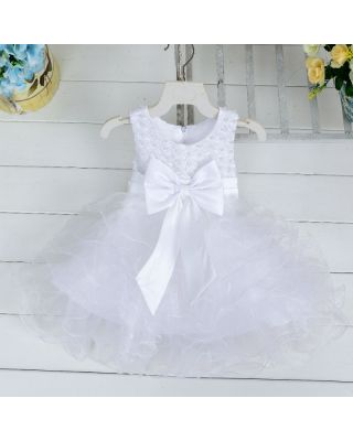 White Bowknot Sleeveless Beadings Layered Fluffy Party Dress for Baby Girl