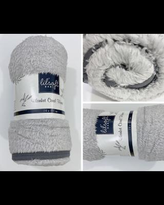 Newborn Baby Swaddle Grey Blanket Coral Fleece for Winter