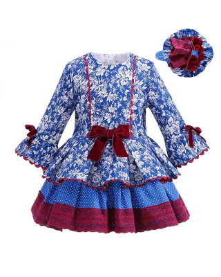 Toddler Girl Pretty Floral Design Frock with headband