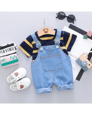 (25% OFF) 2-piece Baby Boy /Girl Shirt with Cotton Overalls set