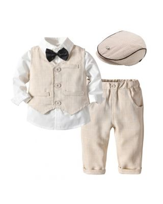 Baby Boy 5-piece Long-sleeve Lapel Collar Shirt + Hat + Bow Tie + Plaid Pant and Waistcoat