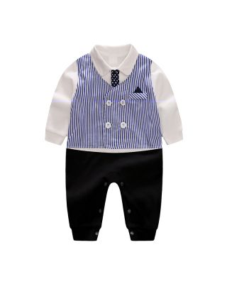 Baby Boy Party Bowknot Decor Long-sleeve Jumpsuit