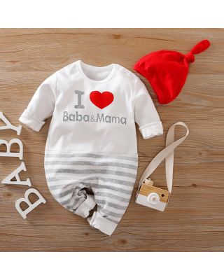 2-piece I Love Mama Baba Print Long-sleeve Romper + Hat (0-18 Months)