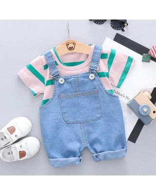 (25% OFF) 2-piece Baby Girl Shirt with cotton blended Overalls set