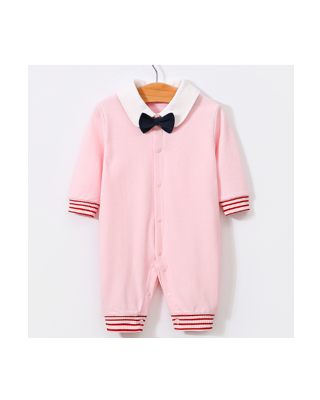 Baby Girl Bow Tie Decor Pink Jumpsuit