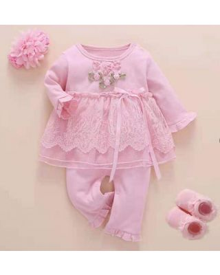 Baby Girl Romper Dress Floral with headband and Socks Set