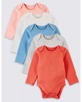 5-Piece Marks and Spencer Organic Cotton Pointelle Bodysuits for Preemie Baby