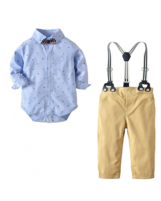 Baby Boy Anchor Print Bow Tie Shirt Bodysuit and Suspender Pants Set