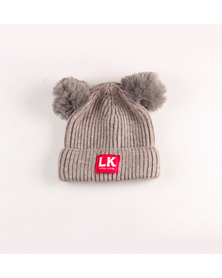 Cute Knitted Solid Grey Pompom Decor Hat for Baby