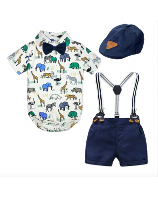 Baby Boy Gentleman Animal Safari Jungle Theme Party Suit & Hat for First 1st Birthday