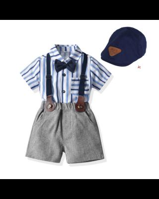 Baby Boy Gentleman Strips Design Formal Suit with Suspender + Navy Blue HAT