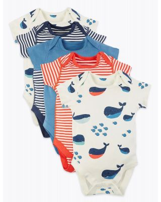 5 Pack Mark & Spencer Organic Cotton Nautical PREEMIE Baby Bodysuits
